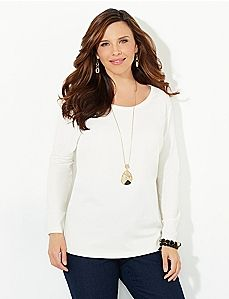 New CATHERINES Purple Medallion 3//4 Sleeve Stretch Knit Blouse WOMENS PLUS SIZE