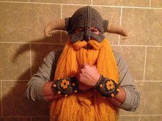 Crochet Viking & Warrior Beard/Hat Combo...fleece?  with the helmet over the ski helmet?