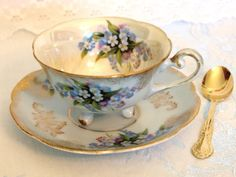 Antique Tea Cup and Saucer Set Tri 3 Footed Baby  Blue & Gold Floral Lusterware Teacup w/ Forget Me Nots | Mid Century Japan | Cottage Decor  by HouseofLucien