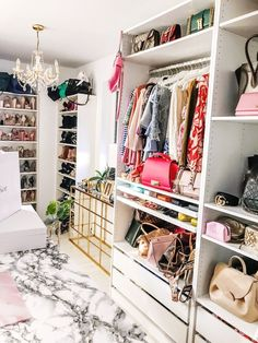 Beautiful Dream Closet Makeover In Your Dressing Room - Korhek Glam Closet, Closet Vanity, Luxury Closet, Wardrobe Closet, Shoe Closet, Dressing Room Decor, Dressing Room Closet, Dressing Room Design, Dressing Rooms