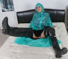 Waders and rain coat on bed #RaincoatsForWomenShoes