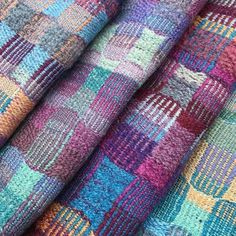 Sarah Allen's unusual color combinations work so well in these merino silk scarves~ @sarah_weaves