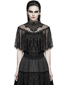 Punk Rave Womens Lace Cape Top Black Gothic Lolita Steampunk Victorian VTG Shrug