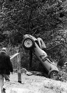 Carel Godin de Beaufort, Ecurie Maarsbergen Porsche 718, 1962 German Grand Prix, Nürburgring  de Beaufort's Porsche crashed hard at Bergwerk, throwing him out of the car he sustained major (head)injures & died 3 days later in hospital