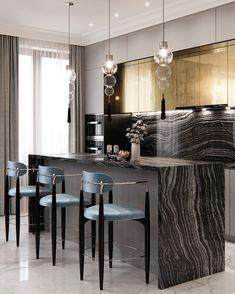 Kitchen interior design – Home Decor Interior Designs Luxury Kitchen Design, Kitchen Room Design, Luxury Kitchens, Home Decor Kitchen, Interior Design Kitchen, Home Kitchens, Studio Kitchen, Kitchen Ideas, Kitchen Designs