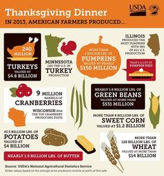 INFOGRAPHS: Thanksgiving By The Numbers #infographics #farm #agriculture