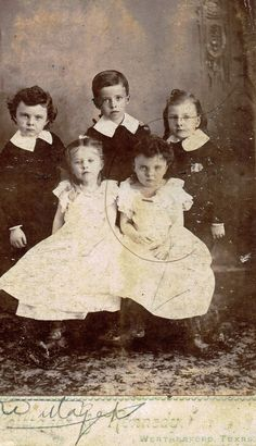 McKenzie grandchildren ca 1893 Charles William Davies (far right) Helen Davies (little girl on right)