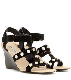 Black embellished suede wedge sandals