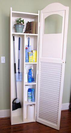 Laundry room storage idea. Cool! Creative!