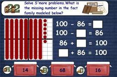 Great Math Station Ideas.  Shown here: fact families adding to 100.