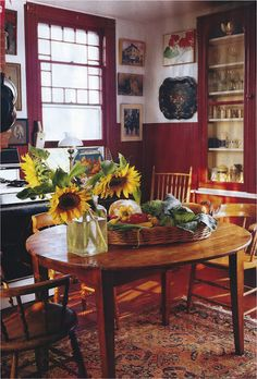 like the barn red & white combo for a small dining room