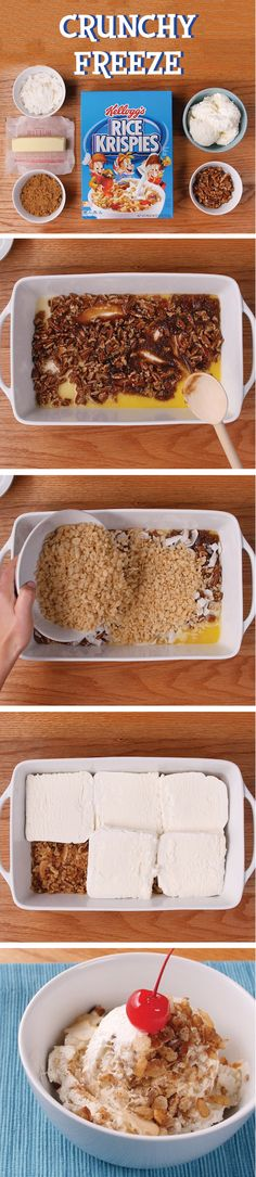 Scoop up summer fun with a yummy ice cream and coconut Rice Krispies® Crunchy Freeze. For more fun and easy #BowlsInASnap, visit RiceKrispies.com. Ingredients: - 1/2 cup margarine or butter - 2 1/2 cups Kellogg's® Rice Krispies® cereal - 3/4 cup firmly packed brown sugar - 1 1/4 cups flaked coconut - 1 cup pecans, broken - 1/2 gallon vanilla ice cream or frozen yogurt, slightly softened