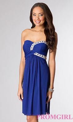 Knee Length Strapless Sweetheart Dress at PromGirl.com