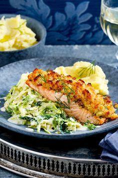 Salmon with horseradish crust recipe DELICIOUS-Lachs mit Meerrettichkruste Rezept Shrimp Recipes, Fish Recipes, Meat Recipes, Asian Recipes, Healthy Recipes, Ethnic Recipes, Italy Food, Crust Recipe, Healthy Eating Tips