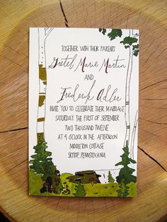 <3.  whimsical woodland wedding-- this designer is about 20 miles from Paupac! Can use any font: Birch Wedding Invitation Suite.