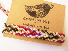 Purple Maroon Grey Gray Black White woven bracelet - Guys girls aztec wristband handmade handknotted hemp style thread friendship bracelets