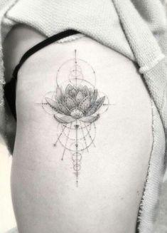 Image result for minimalist line tattoo lotus sacred geometry