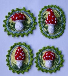 Toadstool Patches x4 - Crochet Pattern by CAROcreated on her Etsy Shop.