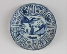 BLUE & WHITE KRAAK STYLE DISH. LATE MING PERIOD.