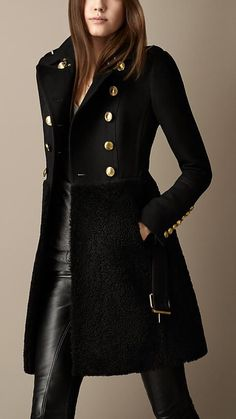burberry coat outlet azzl  Burberry Shearling Skirt Fitted Coat