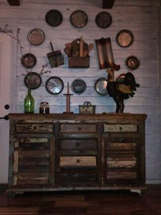 Or this in my bedroom--no pans on the wall of course :) Thrift Shop Finds, Store Closing, Old Mirrors, Old Candles, Mini Tart, Decorating Ideas, Decor Ideas, Side Board, Prim Decor