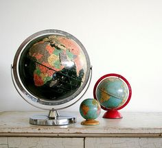 Vintage Black Oceans Globe - 1960 Replogle Starlight Globe. $95.00, via Etsy.