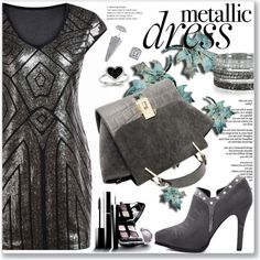 How To Wear Geometric Metallic Dress Outfit Idea 2017 - Fashion Trends Ready To Wear For Plus Size, Curvy Women Over 20, 30, 40, 50