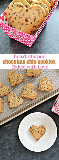 "Nothing says I love you like a warm from the oven chocolate chip cookie. Except, of course, when it comes in the shape of a heart. These heart shaped chocolate chip cookies are the perfect way to say ""I love you"" this Valentine's Day or any day of the year. Such a sweet Valentine's Day dessert!"