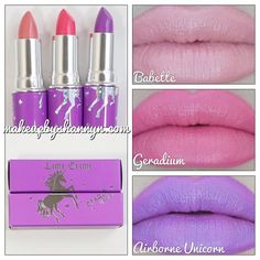 Lime Crime Lipsticks The top two colors are gorgeous.I love that shade of purple but as a lipstick,no.