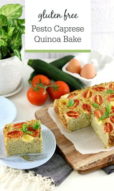 Perfect for Weekly Meal Prep, this Pesto Caprese Quinoa Bake Recipe is healthy, gluten free and perfect for lunch, brunch or a light dinner. Vegetarian and filled with gooey mozzarella balls, basil pesto and cherry tomatoes, this Italian inspired casserole dish will be a family favourite. High protein, low fat, gluten free, clean eating friendly, sugar free and absolutely delicious! Freezer friendly so you can reheat and eat for work lunches or busy nights. Healthy Pesto, Healthy Meal Prep, Healthy Recipes, High Protein Recipes, Protein Foods, Vegetarian Recipes, Quinoa Recipe, Baking Recipes, Breakfast Recipes