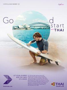 banking poster banking layout Good Start (Thai Airways) on Behance Ads Creative, Creative Advertising, Hotel Ads, Thai Airways, Plakat Design, Great Ads, Best Start, Photoshop Design, Ad Design
