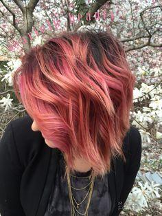 @arielp_beauty Pink.colormelt.balayage.ombre.shadowroot.hair.magenta.ariel.cherryblossom.blazer.cottoncandy.bob.lob.waves.shortwavyhair