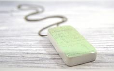 Vintage-Inspired Pale Green Script Domino Pendant with Gunmetal Gray Ball Chain