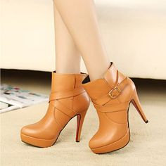 Buckle High Thin heel Women Boots Platform Ankle Knight Boots