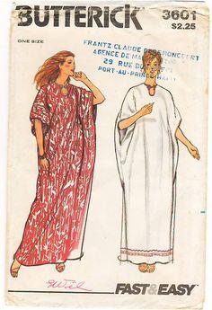 Vintage Pattern Butterick 3601 Caftan 70s