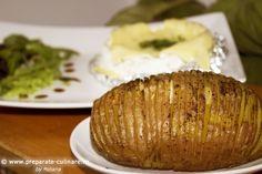 cartofi Hasselback la cuptor Hasselback Potatoes, My Recipes, Baked Potato, Baking, Ethnic Recipes, Food, Bakken, Essen, Meals