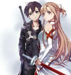 Girls Anime, Anime Couples Manga, Cute Anime Couples, Manga Girl, Arte Online, Kunst Online, Online Art, Kirito Asuna, Sword Art Online Kirito
