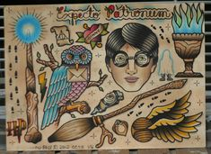 Amazing old school Harry Potter tattoos ♥ LOVE the expecto patronum!