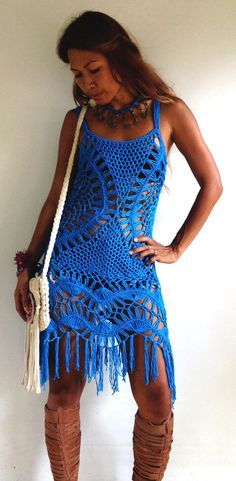 Half Moon In Color- Crochet Dress with Fringe- Off-White, Forest Green, Mocha, Cerulean.