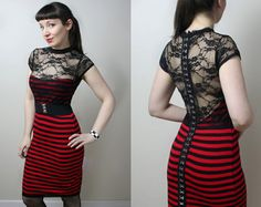 Greaser Girl stripe lace wiggle rockabilly dress - handmade to order - smarmyclothes punk pinup retro., via Etsy.