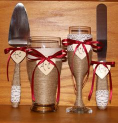 Rustic Wedding Cake Serving Set Champagne by CarolesWeddingWhimsy, This Burgundy Rustic Wedding Champagne Glass and Beer Glass with Matching Cake set can be found here https://www.etsy.com/listing/248877013/rustic-wedding-cake-serving-set