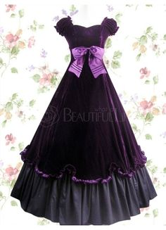 #Lolita #Dress  Classic Matte Satin Sweetheart Empire Floor-length Lolita Dress With Ruffles