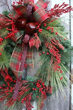 Christmas Grapevine wreath filled with red berries, pine & tied with a burlap bow, a beautiful natural way to decorate for the holiday season! Description from pinterest.com. I searched for this on bing.com/images