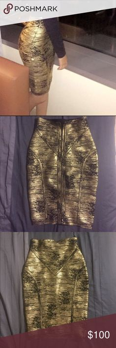 Herve Leger Bandage Skirt Super flattering it extenuates your curves and creates them for you if you have none lol it is size small but I am petite and usually wear size xs and it fits me perfectly Herve Leger Skirts Pencil