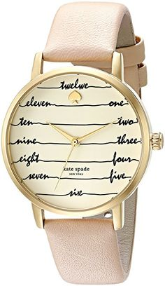 kate spade new york Women s  Metro  Quartz Stainless Steel and Leather  Casual Watch d6d0b1477500