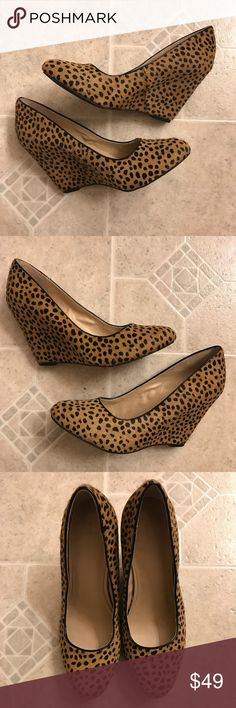 NEW Banana Republic animal print calfhair wedges These are gorgeous! New with tags still on bottoms. Wedges are 4 inches. Banana Republic Shoes Wedges