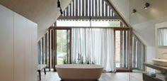 Gangoly & Kristiner Architekten » Archive » Haus P House In The Woods, Bathtub, Curtains, Bathroom, Interior, Home Decor, Archive, Build House, Full Bath