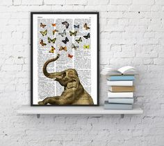 Elephant in love counting butterflies book print - Elephant in love - collage Printed on vintage dictionary book page BPAN088b