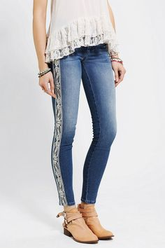 Sold Design Lab Embroidered Soho Skinny Jean