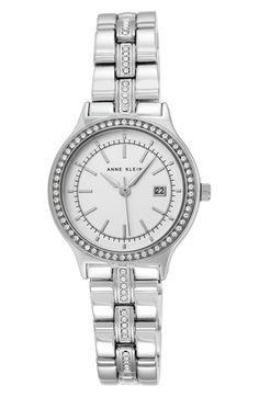 Anne Klein Crystal Bezel Bracelet Watch, 30mm available at #Nordstrom